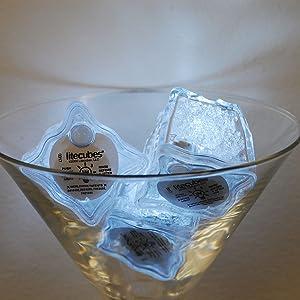 White LED Light Up Ice Cubes, liteCubes, flashing ice cubes