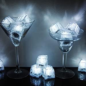 Flasing LED Ice Cubes, light up white ice cubes
