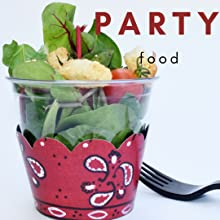 Western theme party food cups with bandana wraps and salad for single serving appetizers or buffet
