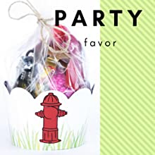 Fire-truck theme fire hydrant, plastic party favor bags in paper cupcake holder for kids party favor