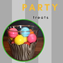 Colorful gumballs in a brown faux bois cupcake wrapper around a plastic party cup for a camp party