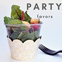 Rustic baby shower or bridal shower party food, salad in cup with cupcake wrapper for single serving