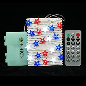 Independence Day Decor LED String Lights Battery Operated American Stars Flag Lighting String Lights