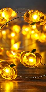 Pumpkin String Lights 10ft 40 LEDs Halloween String Lights Battery Powered with Remote