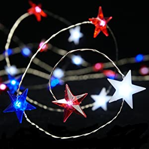 BOHON Independence Day Decor LED String Lights Battery Operated with Remote