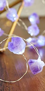 Decorative Lights Amethyst LED String Lights Battery Operated with Remote