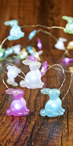 Easter Decoration Lights Rabbit LED String Lights Battery Operated with Remote