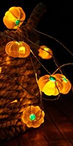 Pumpkin String Lights 10ft 40 LEDs Halloween String Lights Battery Powered