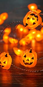 BOHON Pumpkin String Lights 10ft 40 LEDs Halloween Lights Battery Powered with Remote