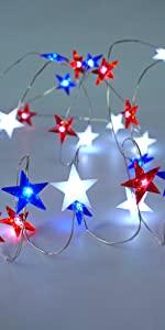 Independence Day Decor LED String Lights USA American Stars Flag Lighting String Lights