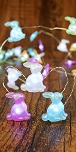 Easter Decoration Lights Rabbit LED String Lights Battery Operated Bunny Shaped String Lights