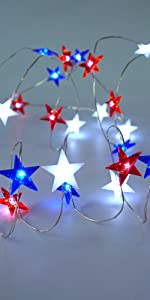 Independence Day Decor LED String Lights Battery Operated with Remote String Lights for Bedroom