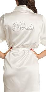 zynotti rhinestone bridal party bride bridesmaid maid of honor wedding kimono silk satin robe