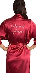zynotti glitter print bridal party bride bridesmaid maid of honor wedding kimono silk satin robe