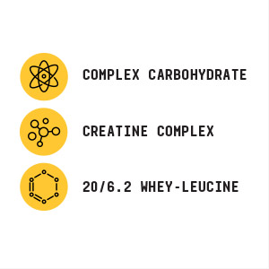 Includes complex carbohydrate, creatine complex and 20/6.2 whey-leucine