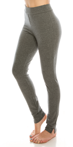 Urban Diction 2 Pack Full-Length Cotton Stretch Leggings (BLK- H Gry