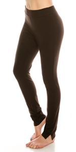 (2 Pack) Full-Length Cotton Stretch Leggings Black-Brown : Urban Diction
