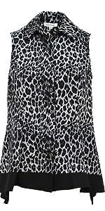 Urban Diction Button Down Sleeveless Leopard Collard Blouse (Grey, Small)