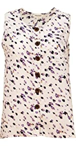 Urban Diction Sleeveless Floral Tops Button-Down Front Blouse