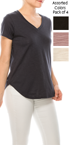 Urban Diction 4 Pack Women's Comfort Solid V Neck Short Sleeve Tee
