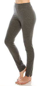 (2 Pack) Full-Length Cotton Stretch Leggings Black-Dark Grey : Urban Diction