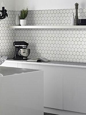 thassos white hexagon tile