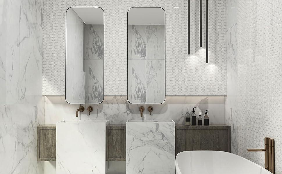 thassos white marble mosaic tile backsplask for kitchen