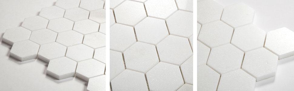 thassos white hexagon mpsaic tile