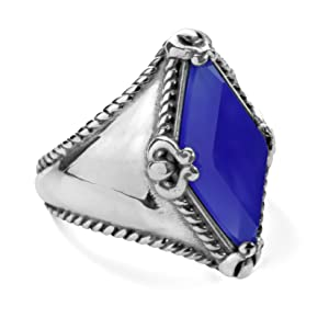 sterling silver gemstone bold domed ring rope filigree brilliant blue agate polish scroll colorful
