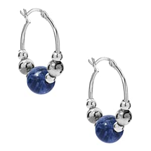 925 sterling silver gemstone sodalite rhodonite agate jasper beaded polished bead hoop earring