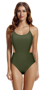 high waisted one piece swimsuit