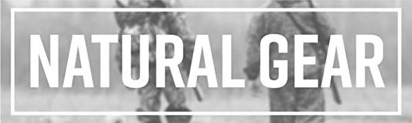 """""""Natural Gear"""" in white capital block letters against black and white image of 2 men hunting."""