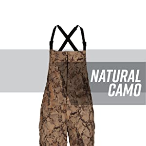Camo fleece overalls against a white background with gray stripe behind; text reads: natural camo.