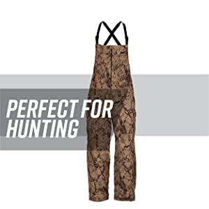Fleece bib against a white background, gray stripe behind; text reads: perfect for hunting.