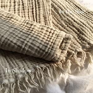 khaki muslin throw in the sun