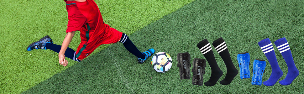 Youth Soccer Shin Guards for Kids with Knee High Socks Football Protective Gear Pad Sleeve Equipment