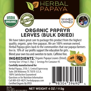 papaya leaves bulk herb label
