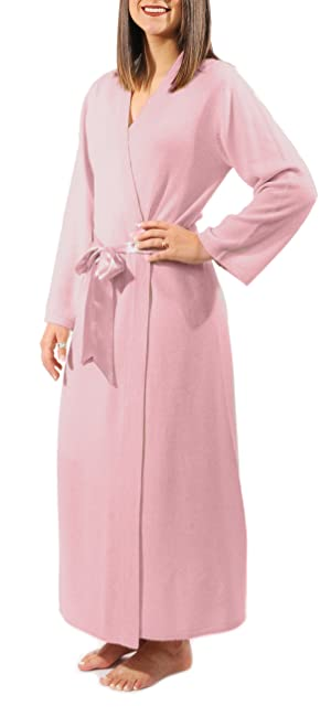 long cashmere robe, cashmere wrap front robe, pink cashmere robe, cashmere loungewear