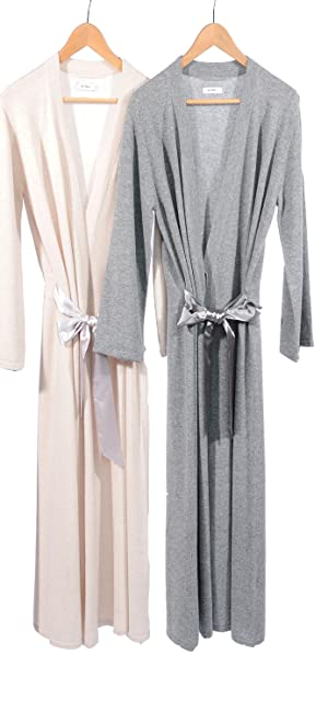 long cashmere robe, grey heather cashmere, beige cashmere, womens cashmere robe
