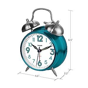 Battery operated clock loud alarm heavy sleepers metal twin bells loud hard of hearing deaf