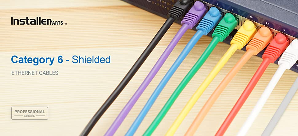 Professional Series InstallerParts Ethernet Cable CAT6A Slim Cable UTP Booted 5 FT 550MHZ 50 Pack 10Gigabit//Sec Network//High Speed Internet Cable - Black 28AWG