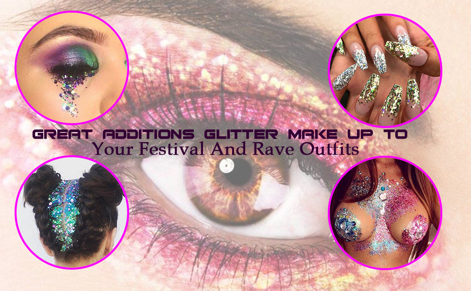 Great Additions Glitter Make Up To  Your Festival And Rave Outfits