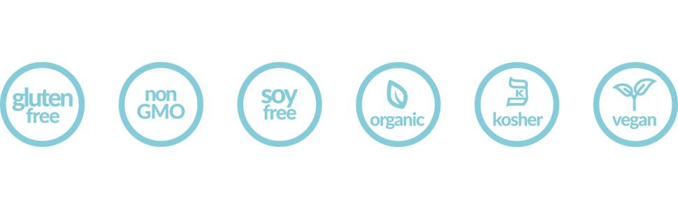 gluten free, non GMO, soy free, organic, kosher and vegan ingredients