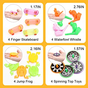 A variety of small toys for boys and girls.