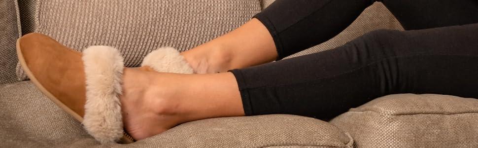 faux fur vegan slippers for women chestnut tan memory foam outdoor sole non slip on mules wide feet