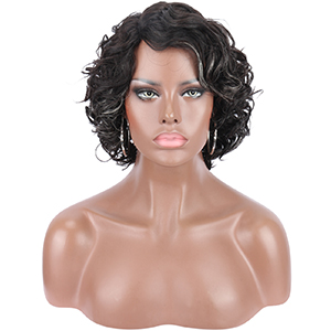 Human Hair Short Curly Wavy Brown with White Highlights Lace Front Wigs