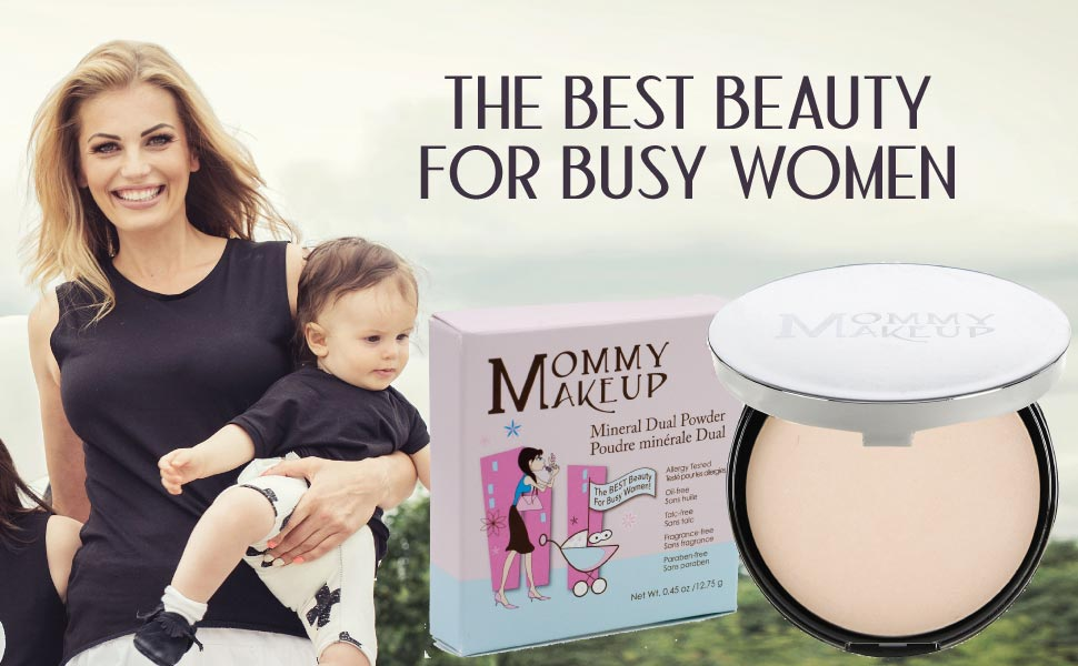 Mommy Makeup Mineral Dual Powder SPF15 [4-in-1 Pressed Mineral Foundation] Talc-free, Paraben-free
