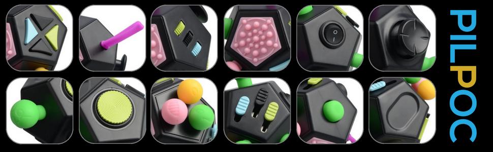 PILPOC theFube Fidget Cube Premium Quality 12 sides protective carry case stress relief toy
