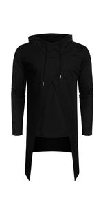 COOFANDY Men's Slim Fit Hoodie Lightweight Hooded Sweatshirt Casual Hip Hop Long Length Cloak