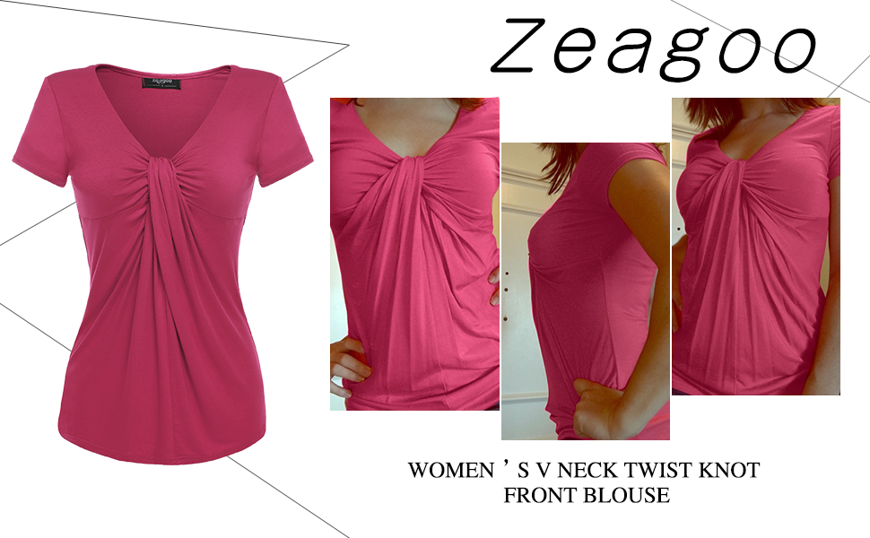 Zeagoo Women V Neck Twist Knot Front Casual Blouse Top